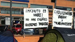 Los trabajadores de Majauto acampan por un despido digno