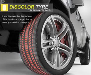 Los neumáticos Discolor Tyre cambian de color por el desgaste