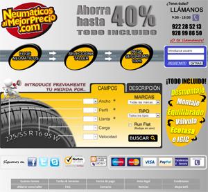 Página principal de Neumaticosalmejorprecio.com