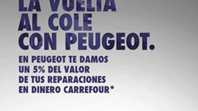 Peugeot regala el 5% de la factura del taller en tarjetas Carrefour