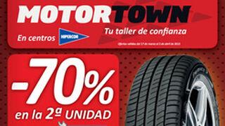 Motortown descuenta el 70% en el segundo neumático Michelin