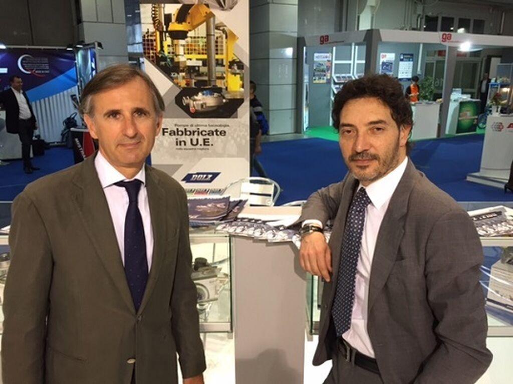 Jesús Dolz y Roberto Menotti, director comercial en Italia de Industrias Dolz, fabricante de bombas de agua.