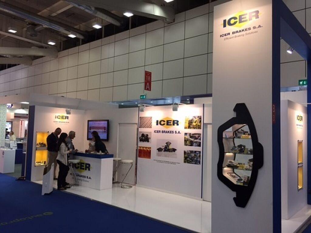 El fabricante de frenos Icer, un clásico de las más destacadas ferias internacionales de la posventa.