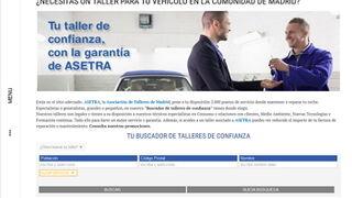 Talleresdeconfianza.com, la web para el buscador de Asetra