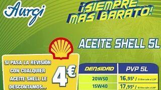 Aurgi descuenta 4 € a las revisiones realizadas con lubricantes Shell