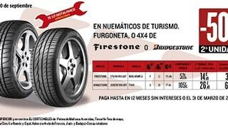 Motortown descuenta el 50% en el 2º neumático Firestone o Bridgestone