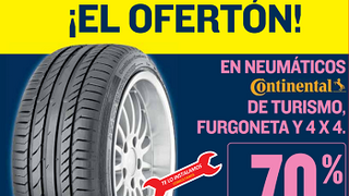 Motortown descuenta el 70% en el segundo neumático Continental