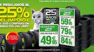 Feu Vert regala el 25% de la factura para futuras compras en su red