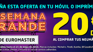 Euromaster regala hasta 20 € de descuento por el cambio de neumáticos