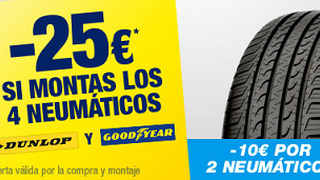 Norauto descuenta 25 euros por el cambio de neumáticos