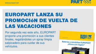 Europart regala un spray limpiasalpicaderos al comprar sus baterías y escobillas