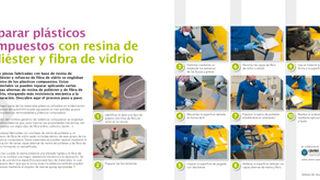 Reparar plásticos compuestos con resina de poliester y fibra de vidrio