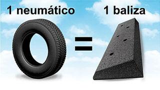 Balizas para carril bici a partir de neumáticos usados