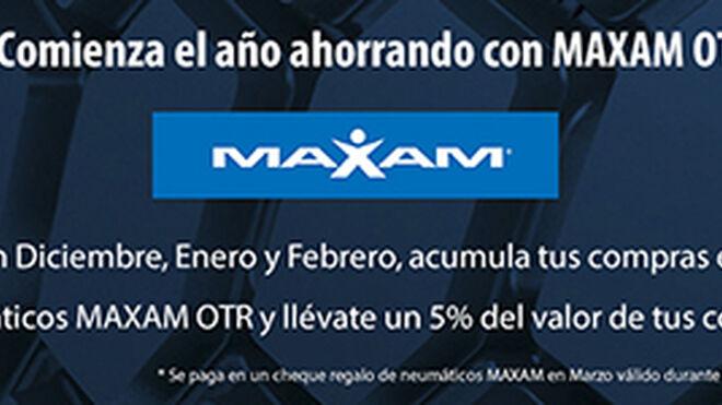 Maxam ofrece un cheque regalo del 5% de las compras de neumáticos OTR