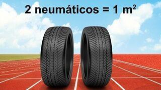 Una pista de atletismo olímpica, con 8.000 neumáticos fuera de uso