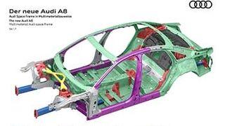La carrocería del nuevo Audi A8 combinará Space Frame con otros cuatro materiales