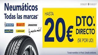 Norauto ofrece descuentos de hasta 20€ en neumáticos