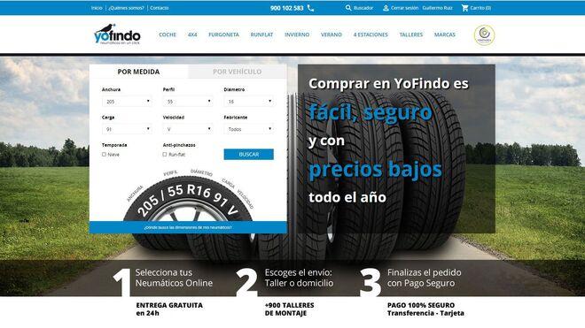Yofindo rediseña su web para facilitar la renovación de neumáticos