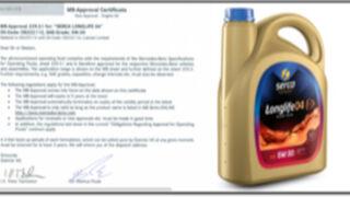 El aceite Serca Longlife-04 SAE 5W30 consigue el certificado Daimler