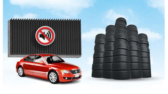 Neumáticos usados para fabricar muros aislantes acústicos de carreteras