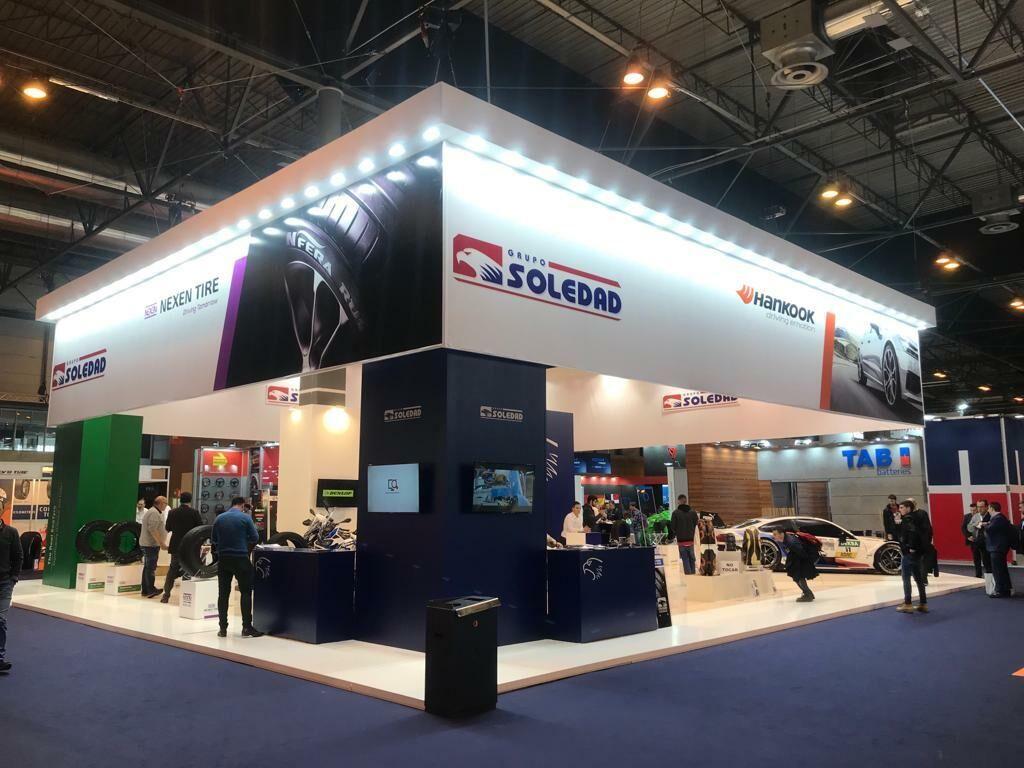 El stand de Grupo Soledad, con protagonismo especial para las marcas Nexen Tire y Hankook