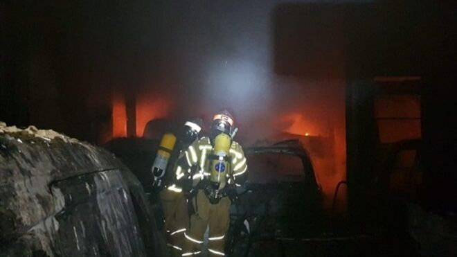 Arde un taller mecánico en Buñuel (Navarra)