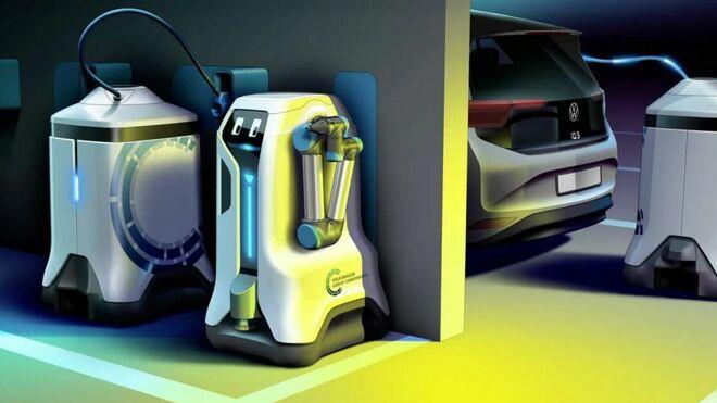 Así es el prototipo de robot de Volkswagen  que carga un eléctrico de forma autónoma