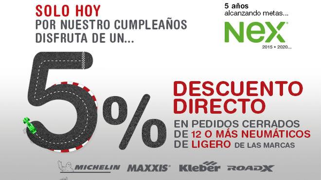 Nex Tyres celebra su quinto aniversario en España con un descuento del 5%