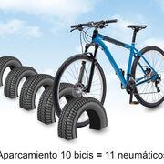 ¿Sabías que... se pueden hacer aparcamientos para bicicletas con neumáticos usados?