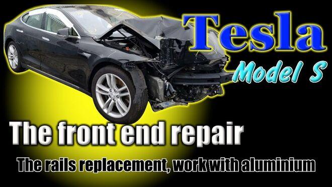 """La espectacular reparación de un Tesla Model S """"a martillazos"""""""