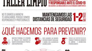 El cartel de Grupo Andrés para talleres limpios y responsables frente al coronavirus