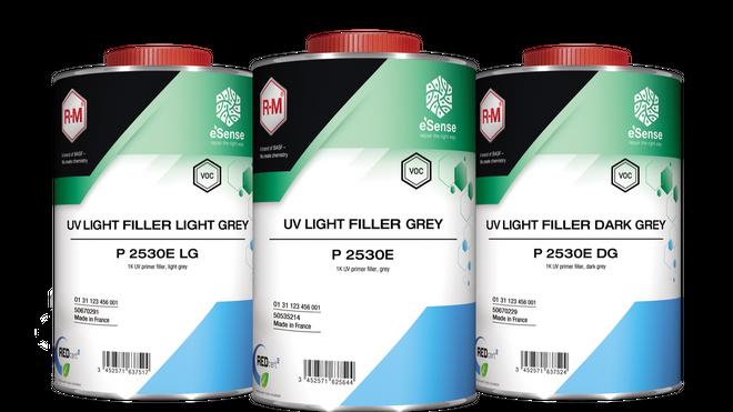 Tres versiones del UV Light Filler Grey de R-M, avaladas como una línea más ecológica