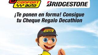 Confortauto ofrece cheques regalo de Decathlon por la compra de neumáticos Bridgestone