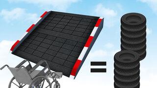 ¿Sabías que... se fabrican rampas accesibles a partir de neumáticos usados?