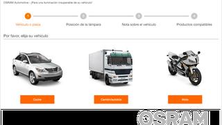 Osram mejora su buscador de lámparas de vehículos y estrena versión en español
