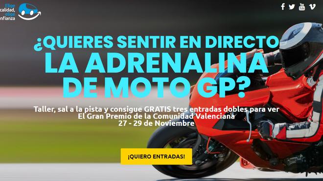 ECEC sortea tres entradas dobles para el Gran Premio de Moto GP de la Comunidad Valenciana