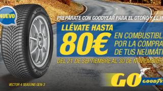 Vulco regala hasta 80 euros en carburante por la compra de neumáticos Goodyear