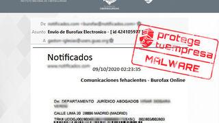 Nuevo intento de fraude a talleres a través de correos con burofax falso que contiene un malware