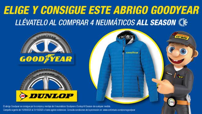 Confortauto regala un abrigo por la compra de cuatro neumáticos Goodyear o Dunlop