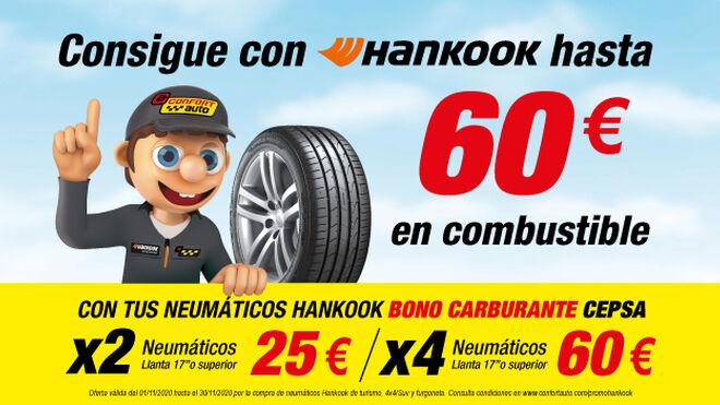 Confortauto y Hankook regalan hasta 60 euros en combustible por la compra de neumáticos