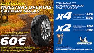 Confortauto y Michelin ofrecen cheques regalo de hasta 60 euros por la compra de neumáticos