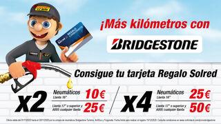 Confortauto regala tarjetas Solred de hasta 50 euros por la compra de neumáticos Bridgestone