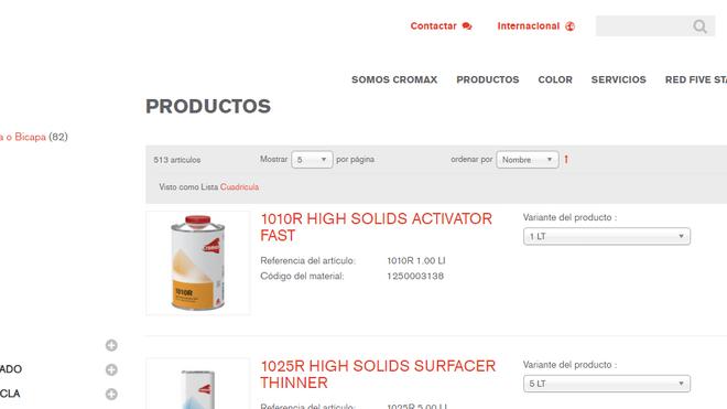 Cromax lanza su catálogo de productos online