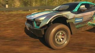 El logotipo de Standox, en el videojuego de rallies y carreras Dirt 5