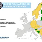 Los neumáticos de invierno son obligatorios en buena parte de Europa