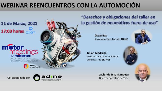 """Motormeetings convoca un webinar sobre """"Derechos y obligaciones del taller en la gestión de NFU"""""""