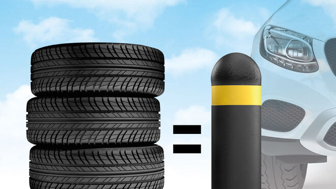 ¿Sabías que… se fabrican bolardos de caucho reciclado procedente de NFU?