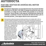 Solución a una anomalía del sensor de posición del árbol de levas en un Fiat 500