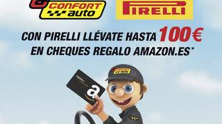 Confortauto regala hasta 100 euros en Amazon por la compra de neumáticos Pirelli
