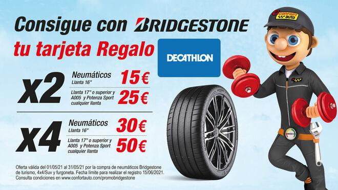 Confortauto regala tarjetas Decathlon de hasta 50 euros por comprar neumáticos Bridgestone